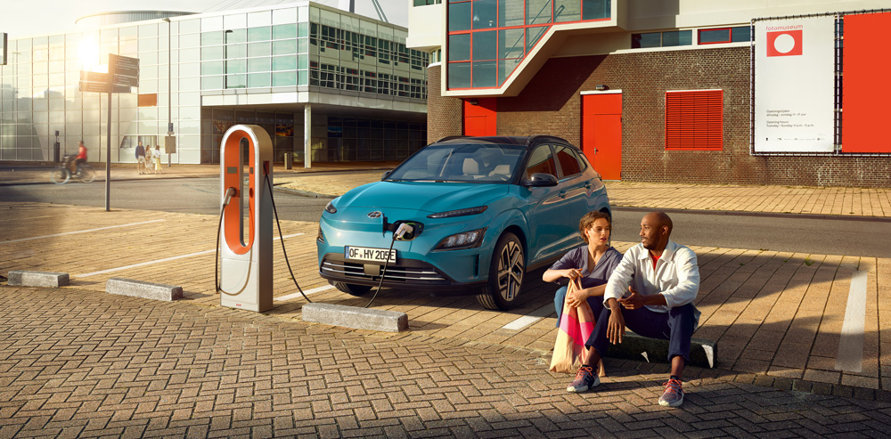 Hyundai KONA Electric elektromobilio įkrovimas