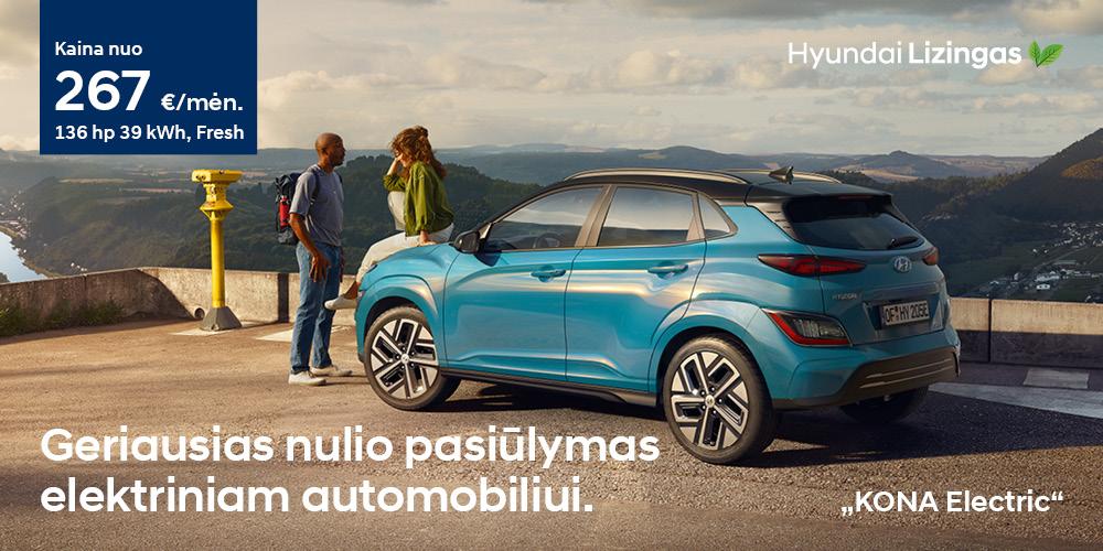 Hyundai lizingas KONA Electric MY21 geriausias nulio pasiūlymas