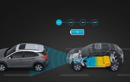 Hyundai KONA electric išmanus rekuperacinis stabdymas