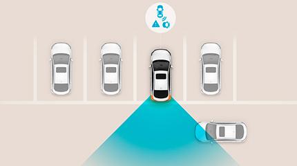 Hyundai Kona Hybrid Įspėjimo apie skersinį eismą gale sistema