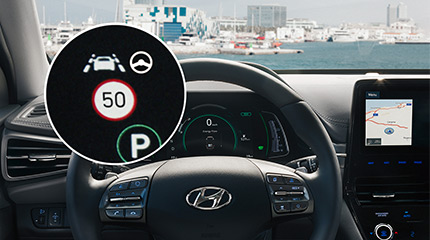 Hyundai ioniq plug-in Išmanioji įspėjimo apie greičio apribojimą sistema