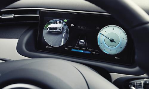 Naujasis Hyundai Tucson sauga aklosios zonos monitorius