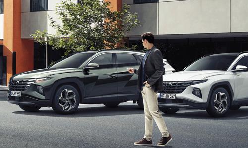 Naujasis Hyundai Tucson sauga išmanus nuotolinis parkavimas