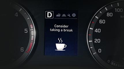 Hyundai i20 vairuotojo įspėjimo funkcija