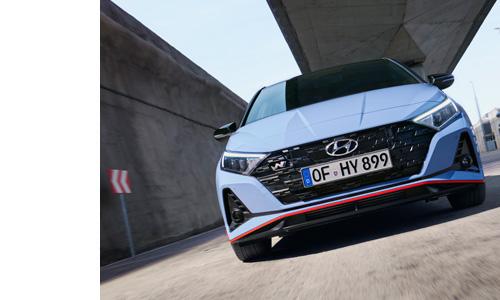 Hyundai i20 N radiatoriaus grotelės su vėliavos raštu