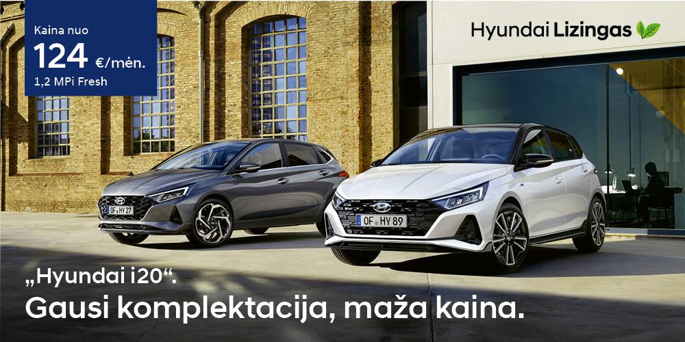 Hyundai lizingas i20 gausi komplektacija maža kaina