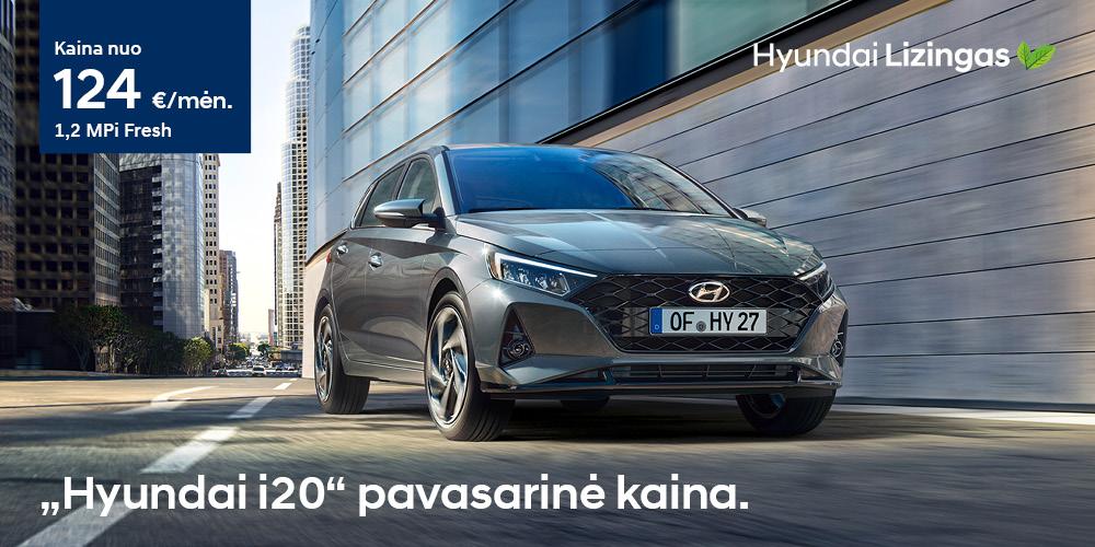Hyundai lizingas i20 pavasarinė kaina