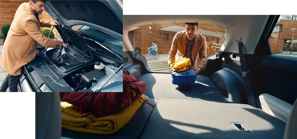 Naujasis Hyundai IONIQ 5 bagažinės priekyje ir gale
