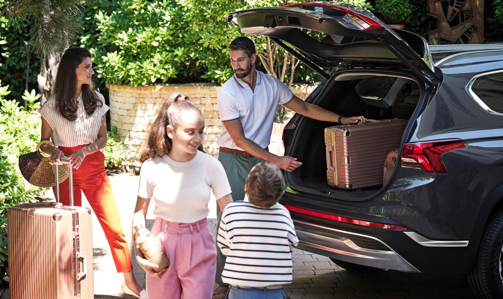 Naujasis Hyundai Santa Fe MY21 vidus universalus bagažo skyrius